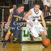 Erica Galvin/NEWS<br /> Laurel's Josh Dando drives down court against Shenango's Greg DePorzio.
