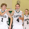 Erica Galvin/NEWS<br /> Laurel players from left, Zachary Wilson, Josh Dando and Stephen Avery celebrate the victory against Shenango in the final seconds of the fourth quarter.