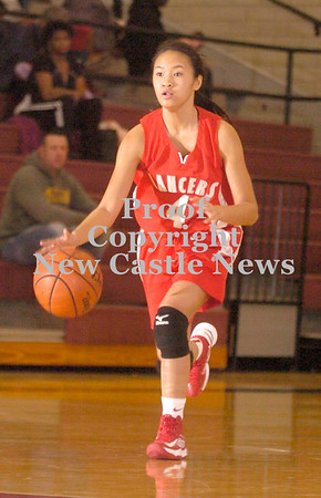 Erica Galvin/NEWS<br /> Neshannock's Stephanie Paras dribbles down court in the second half.