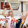 Courtney Caughey-Stambul/NEWS<br /> Neshannock's Tyler Haswell scores on a layup against Shenango's Matt Pherson.