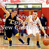 Courtney Caughey-Stambul/NEWS<br /> Neshannock's Frank Fraschetti handles the basketball under pressure from Shenango's James Jacobs.