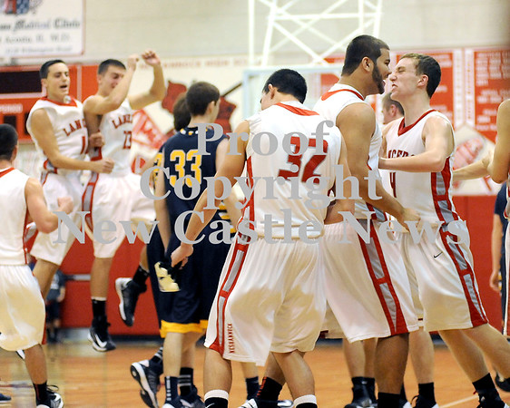 Courtney Caughey-Stambul/NEWS<br /> Neshannock players celebrate last night's win over Shenango.