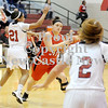 Courtney Caughey-Stambul/NEWS<br /> Mohawk's Paige Ruby searches for an open teammate as New Castle's Velvet Wade applies the pressure on defense.