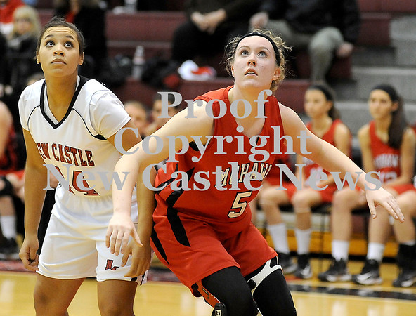 Courtney Caughey-Stambul/NEWS<br /> Mohawk's Katie Hoover boxes out New Castle's Jamay Walker.