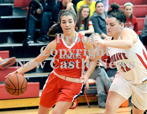 Courtney Caughey-Stambul/NEWS<br /> Neshannock's Cassidy Burrelli drives to the basket against Mohawk's Paige Ruby.