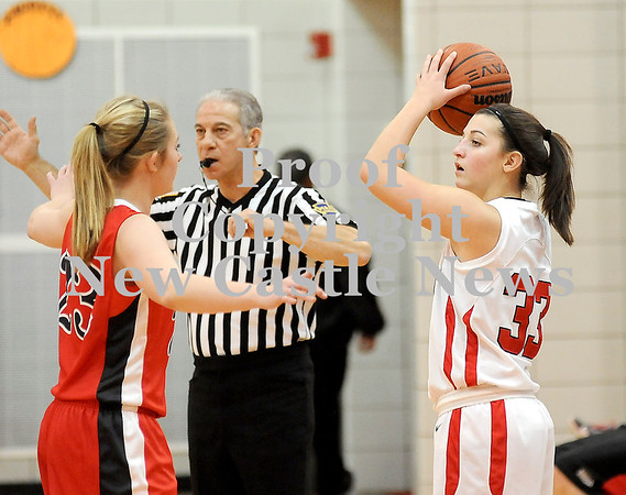 Courtney Caughey-Stambul/NEWS<br /> Mohawk's Hannah Morrow inbounds the basketball.