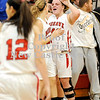 Courtney Caughey-Stambul/NEWS<br /> Mohawk's Paige Ruby, right, celebrates with Shelby Brown, center, following last night's win over Neshannock.