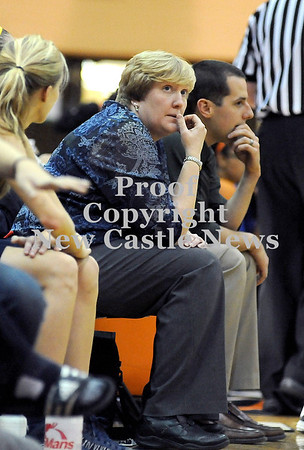 Courtney Caughey-Stambul/NEWS<br /> Wilmington coach Brandy Sanford checks the clock.
