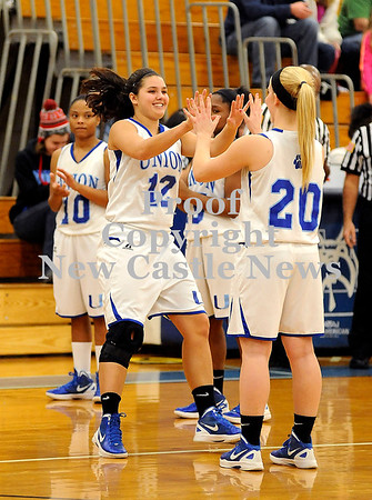 Courtney Caughey-Stambul/NEWS<br /> Union's Kaylee Lemmon, left, high-fives teammate, Christina Noble, as she is introduced on Thursday.