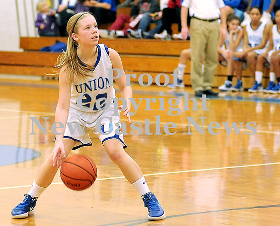 Courtney Caughey-Stambul/NEWS<br /> Union's Marissa Heaney looks to make a move against Moniteau.