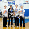 Courtney Caughey-Stambul/NEWS<br /> Union's Marissa Heaney, Kaylee Lemmon, Allison Bertolino and Miranda Heaney accept the Union Holiday Tournament championship trophy last night.