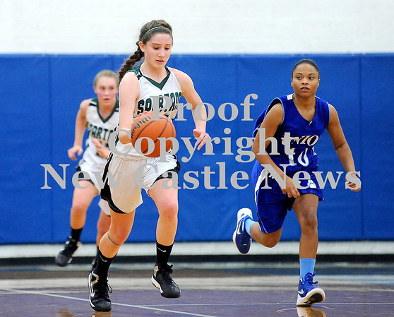 Courtney Caughey-Stambul/NEWS<br /> Laurel's Kristin Dicks brings the ball up the floor as Union's Jasmine Short races to defend.