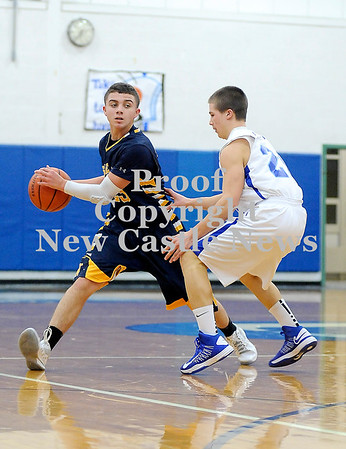 Courtney Caughey-Stambul/NEWS<br /> Shenango's Ryley Ferrari looks to make a move past Union's Wayne Seamans.