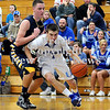 Courtney Caughey-Stambul/NEWS<br /> Union's Joe Salmen drives baseline against Shenango's Brenton Booher.