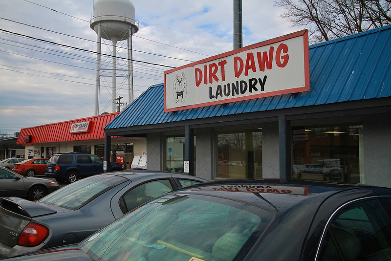 Photos of notable places in Boiling Springs and Shelby near Gardner-Webb University.  Dirt Dawg Laundry
