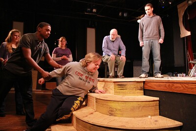 GWU Theater actors rehearse for the upcoming Burial at Thebes performance.