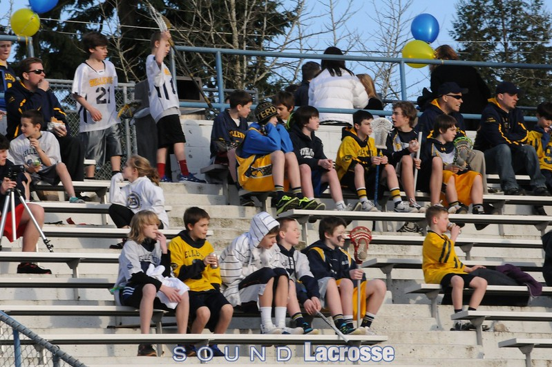 Youth players from the Bellevue Program fill the stands to watch how a team from upstate New York plays lacrosse.