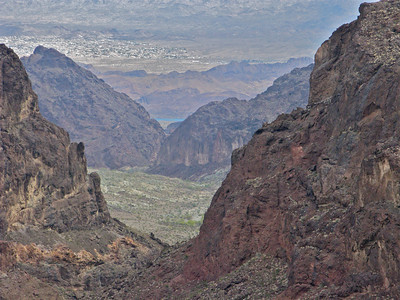 View from cave down Whipple Wash over the Colorado River to Havasu City