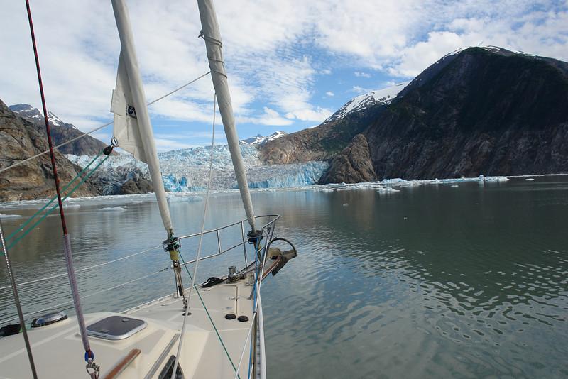 Nosing up to South Sawyer Glacier in Tracy Arm, Alaska.