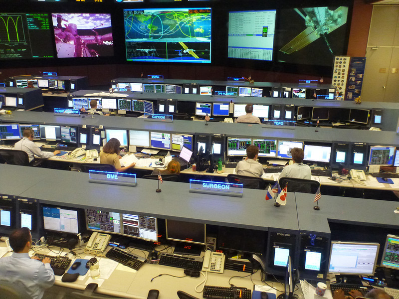 The actual, real-deal mission control for the space station!  The astronauts were asleep, so it was pretty quiet, but that's a live feed of the earth up on screen.  Goosebumps?  Yes.