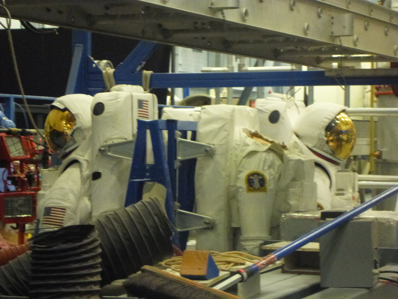 Real space suits - not sure what happened to the missing helmet??