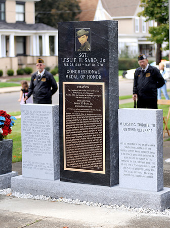 Courtney Caughey-Stambul/NEWS<br /> The monument dedicated to Medal of Honor recipient, Specialist Four Leslie H. Sabo, stands in American Legion Memorial Park.