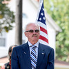 Courtney Caughey-Stambul/NEWS<br /> George Sabo, brother to Specialist Four Leslie H. Sabo, Jr., stands as the Medal of Honor Flag is raised at American Legion Memorial Park.