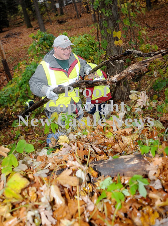 Courtney Caughey-Stambul/NEWS<br /> Dave Esposito removes two large branches from Gaston Park on Saturday.