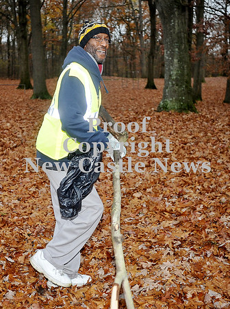 Courtney Caughey-Stambul/NEWS<br /> Danny Dean smiles as he helps clean-up Gaston Park on Saturday with fellow New Visions For Lawrence County members.