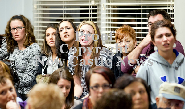 Scott R. Galvin / NEWS<br /> Teachers and community members erupt in outrage over a comment at the school board meeting for the New Castle Area School District yesterday.