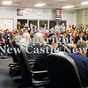 Scott R. Galvin / NEWS<br /> The meeting room for the school board is packed with teachers and community members during the New Castle Area School District board meeting yesterday.