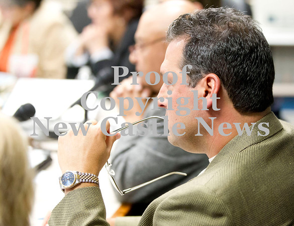 Scott R. Galvin / NEWS<br /> School board member Mark Kirkwood listens to comments from teh community during the school board meeting for the New Castle Area School District yesterday.