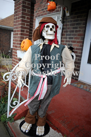Courtney Caughey-Stambul/NEWS<br /> A dancing pirate greets trick-or-treaters at the McGraw residence in Bessemer.
