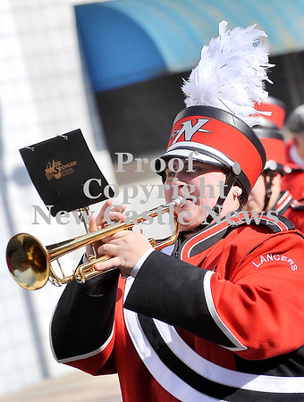 Courtney Caughey-Stambul/NEWS<br /> A member of the Neshannock Lancer Marching Band plays the trumpet.