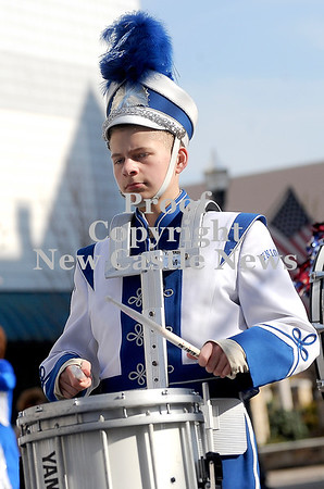 Courtney Caughey-Stambul/NEWS<br /> A student in the Union Scottie Marching Band plays the drums.