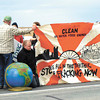 Debbie Wachter/NEWS<br /> An organized group of protesters takes a break during high winds yesterday outside of  Marcellus Shale drilling site.