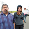 Debbie Wachter/NEWS<br /> Joe Jurasko III and Mickial O'Neal both of Enon Valley, protest the potential dangers of fracking on local water supplies.
