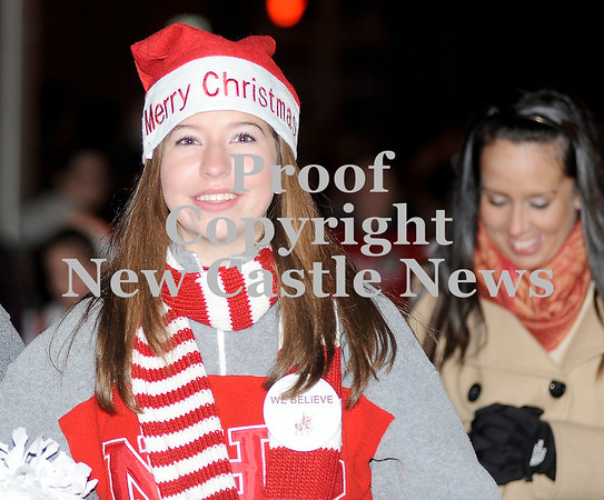 Courtney Caughey-Stambul/NEWS<br /> The Neshannock High cheerleaders walk in the annual Light-Up Night parade.