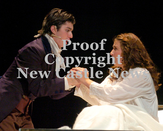 Erica Galvin/NEWS<br /> Matthew Barnes, who plays Jean Valijean and Alexis Reisinger as Fantine practice a scene together during Lincoln High School's fall musical, Les Miserables.