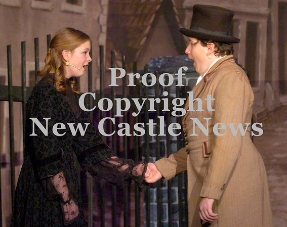 Erica Galvin/NEWS<br />  Marina Thetford as Cosette and Michael Butchelli as Marius sing a song together.
