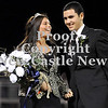 Courtney Caughey-Stambul/NEWS<br /> Nicolette Lanigan and escort, Rob Montanari, react after Lanigan is announced Shenango's Homecoming Queen for 2012.