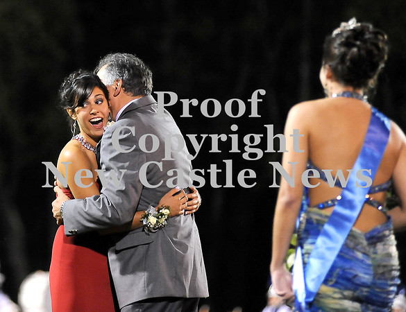 Courtney Caughey-Stambul/NEWS<br /> Allison Bertolino, left, reacts to being named Union's Homecoming Queen as she hugs her father, Anthony Bertolino.