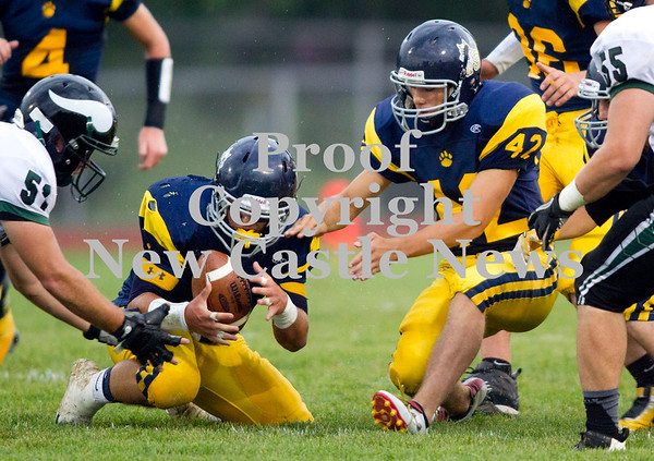 Scott R. Galvin / NEWS<br /> <br /> Shenango's Anthony Prestopine recovers the on-sides kick with the help of teammate Jessie Rippole (#42) during the first quarter against Sto-Rox on Saturday.