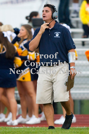 Scott R. Galvin / NEWS<br /> <br /> Shenango's head coach Ryan Mayo calls out to his players during the first quarter against Sto-Rox on Saturday.