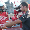 Erica Galvin/NEWS<br /> Injured player, Anthony Richards, far right, talks to Julian Cox, left and Malik Hooker during practice.