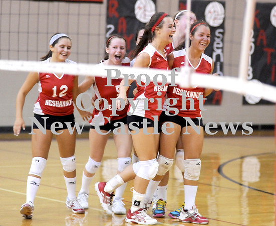 Courtney Caughey-Stambul/NEWS<br /> Neshannock players celebrate after scoring a point against Laurel.