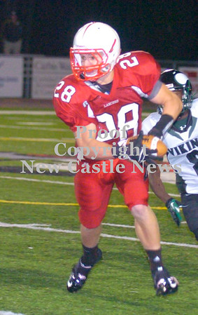 Erica Galvin/NEWS<br /> Neshannock receiver Alex Welker runs for extra yardage after catching a pass.