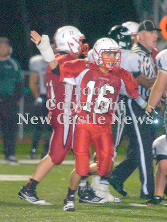 Erica Galvin/NEWS<br /> Neshannock's Rocco Fazio signals Lancers' ball after a fumble recovery in the third quarter.