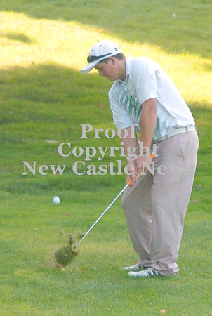 Erica Galvin/NEWS<br /> Laurel's Nick Peluso hits the ball on the 10th hole.