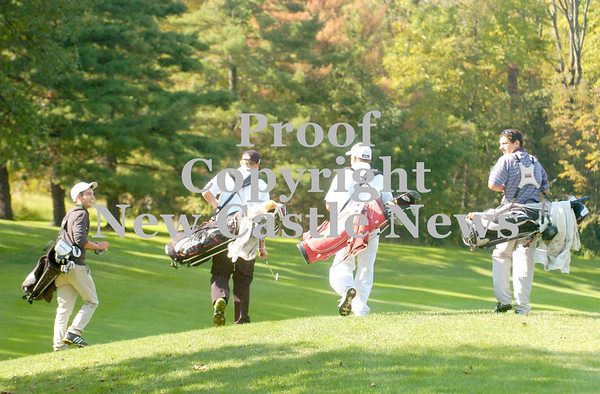 Erica Galvin/NEWS<br /> Golfers from group one, from left, Shane Wilson, Jonathan Palinski, Matt Maciarello and Lucas Villani walk towards their golf balls during the TriCounty Golf Championship at the New Castle Country Club.